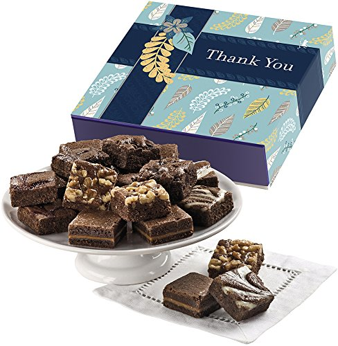 Fairytale Brownies Thank You Magic Morsel 18 Gourmet Food Gift Basket Chocolate Box - 1.5 Inch x 1.5 Inch Bite-Size Brownies - 18 Pieces