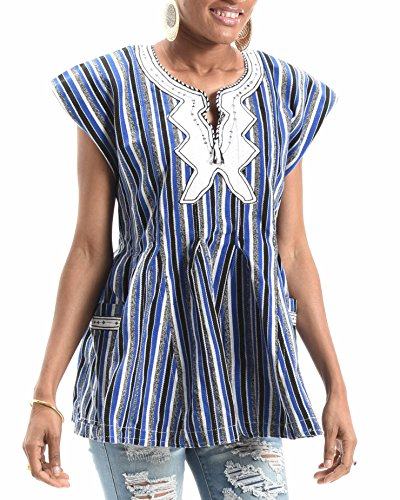 African Print Ladies Flair Top | Kente Dashiki Blue, Black and White Striped Handmade Fabric (Large)