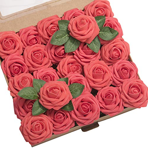 Ling's moment Artificial Flowers Coral Roses 25pcs Real Looking Fake...