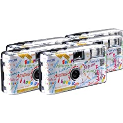 "TopShot I ""I Love You"" Disposable Camera / Wedding Camera / 27 Photos / Flash / Pack of 5"