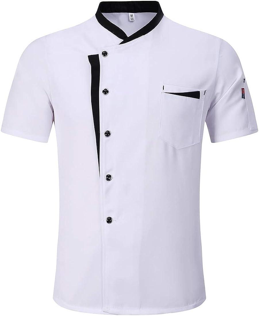 Freahap - Chaqueta de Cocinero Camarero Transpirable y Cómodo, Unisex Camiseta Camisa de Chef Manga Corta para Verano para Trabajo: Amazon.es: Ropa y accesorios