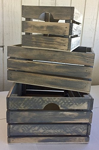 Decorative Wood Crate - Winship Stake and Lath, Inc. Rustic Decorative Wood Crates (Set of 3) - Cottage Grey Distressed