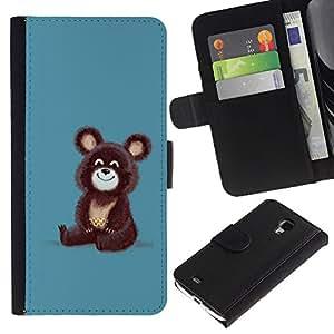 KingStore / Leather Etui en cuir / Samsung Galaxy S4 Mini i9190 / Lindo oso ruso