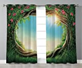 Thermal Insulated Blackout Grommet Window Curtains,Tree,Enchanted Forest in Spring Fresh Growth Foliage with Blossoms Fairytale Fantasy,Green Pink Cocoa,2 Panel Set Window Drapes,for Living Room Bedro