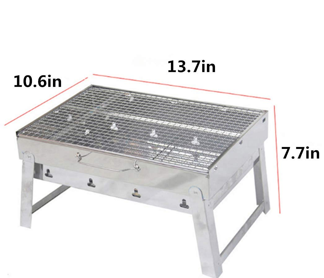 14-Inch 6pcs Kasego Charcoal Grill Portable Barbecue Grill Folding Lightweight BBQ Grilling Tools Set for Outdoor Backyard Patio Cooking Camping Picnic Hiking Stainless Steel