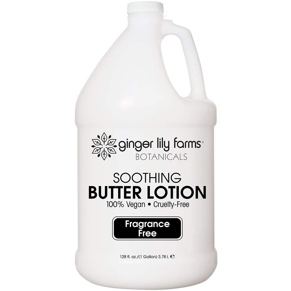 Ginger Lily Farms Botanicals Fragrance-Free Soothing Butter Lotion, 100% vegan, paraben, sulfate, phosphate, gluten & cruelty-free, 1 gallon
