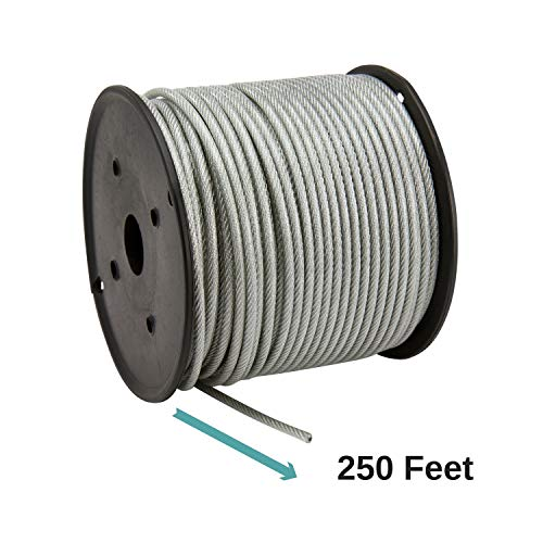 houseables vinyl coated wire rope aircraft cable stainless steel 250 feet 1 8 inch 3 16. Black Bedroom Furniture Sets. Home Design Ideas