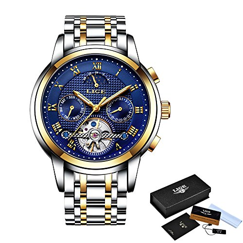 Mens watch lige automatic mechanical watches waterproof stainless steel calendar moon phase for Lige watches