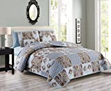 3 Piece Antique Rose Patchwork Reversible Bedspread/Quilt Queen