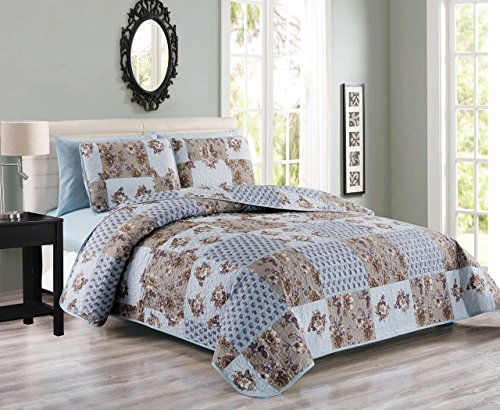 blue and brown quilt - 4