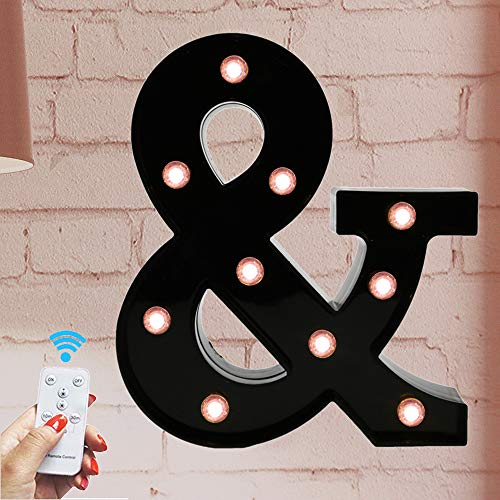 Oycbuzo Marquee Letter Sign Lights - Light Up Black Letters Home Decor Name Signs - Battery Operated LED Remote Timer - Lighted Vintage Accessories & Decorations