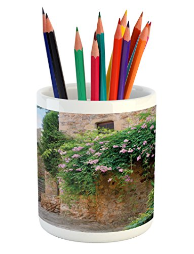 Ambesonne Landscape Pencil Pen Holder, Summer Garden Flowers Marigold Stones Antique Ancient House in Spain Art Print, Printed Ceramic Pencil Pen Holder for Desk Office Accessory, Multicolor by Ambesonne