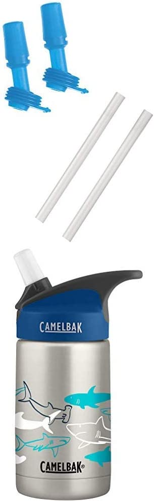 CamelBak Eddy Kids Bottle Accessory 2 Bite Valves/2 Straws, One Size, Ice Blue Eddy Kids Vacuum Stainless 12OZ, Sketchy Sharks, 12 Oz