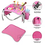 EocuSun Travel Tray, Kids Snack Play Trays with Mesh Pockets and Cup Holders