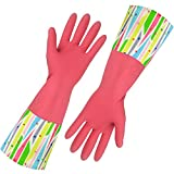Rubber Household Gloves, Reusable Long Latex Kitchen Cleaning Gloves, with Cotton Lining (Pink 2 Pairs)