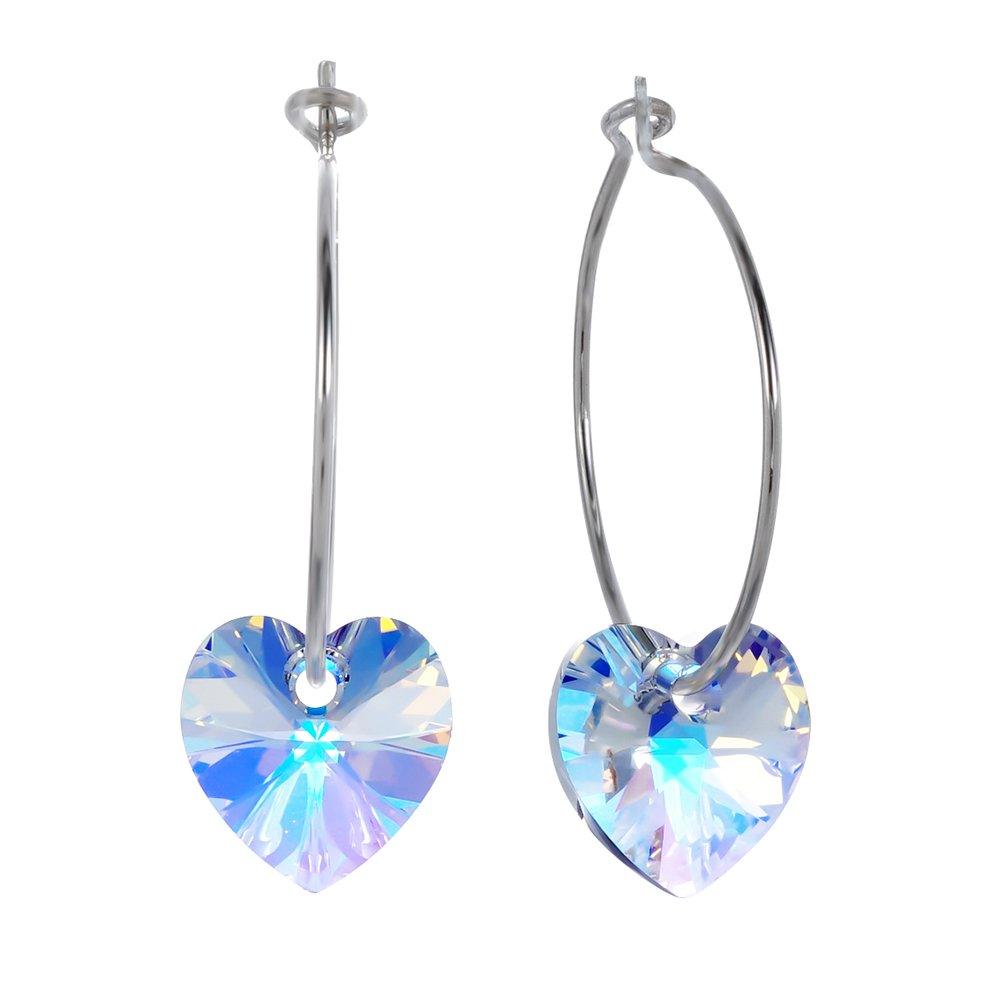 YEOPEN hoop sliver Austrian Crystals Earrings fashion dangle gemstone for women (Heart-shaped)