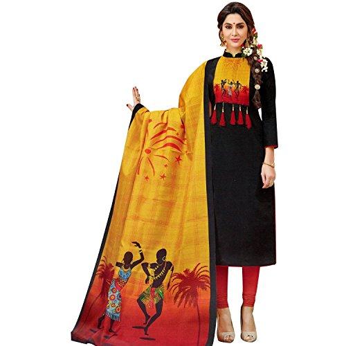 Ladyline Readymade Designer Salwar Kameez Cotton With Exclusive Ethnic Printed Cotton Dupatta Figure Prints - Exclusive Ready Set