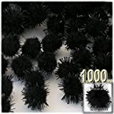 The Crafts Outlet Chenille Sparkly Pom Poms, Black porcupine, 1.0-inch (25-mm), 1000-pc, Black