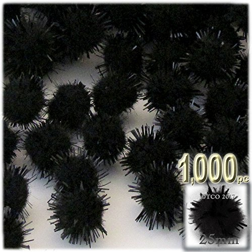 The Crafts Outlet Chenille Sparkly Pom Poms, Black porcupine, 1.0-inch (25-mm), 1000-pc, Black by The Crafts Outlet