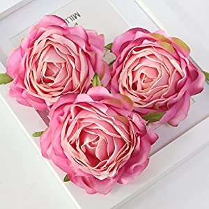 FYYDNZA Artificial Flower Head Retro Rose Head Silk Wedding Arch Away Lead Floral Party Decor,D 53