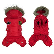 Ranphy Small Medium Dog Snowsuit USA Air-Force Puppy Jacket Pet Cold Weather Coats Hooded Dog Jumpsuit Chihuahua Hoodie Red 4XL