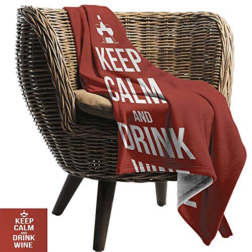 50 300gsm Sheets (Summer Blanket,Keep Calm,Wine Theme with a Bottle and Two Glasses Popular Slogan About Alcoholic Drink,Ruby White,300GSM, Super Soft and Warm, Durable 50