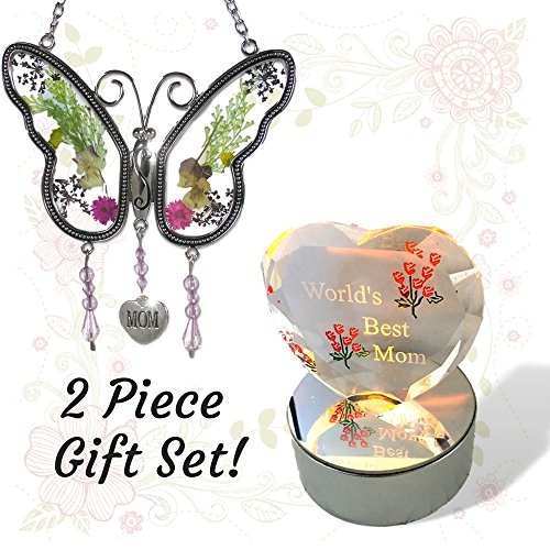 BANBERRY DESIGNS World's Best Mom - Mother Butterfly Suncatcher and Lighted Glass Heart Gift Set