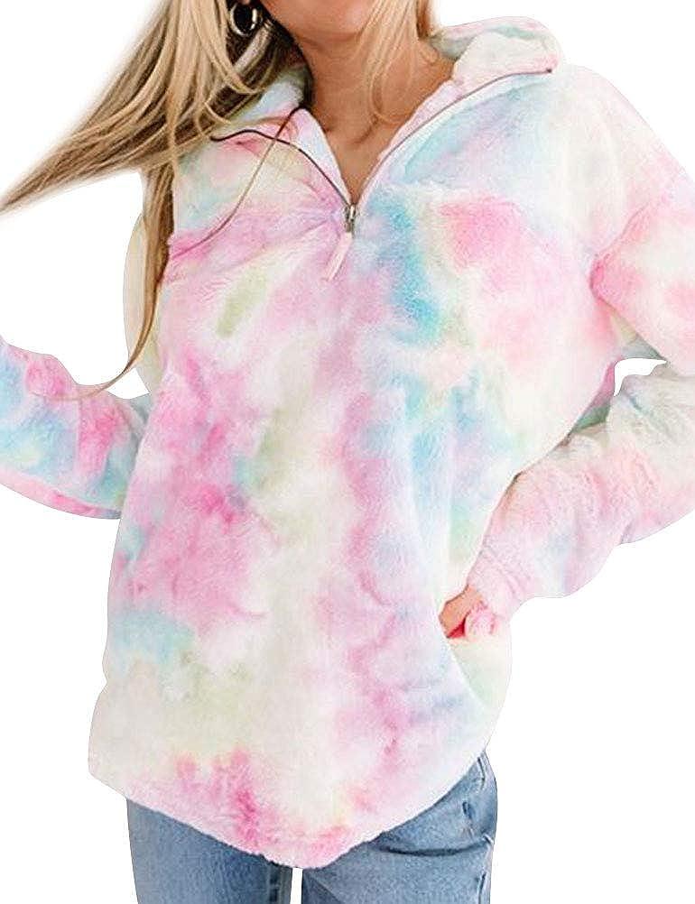StarVnc Women Faux Fur Tie Dye Sweater V Neck Zipper Long Sleeve Lapel Fluffy Pullover