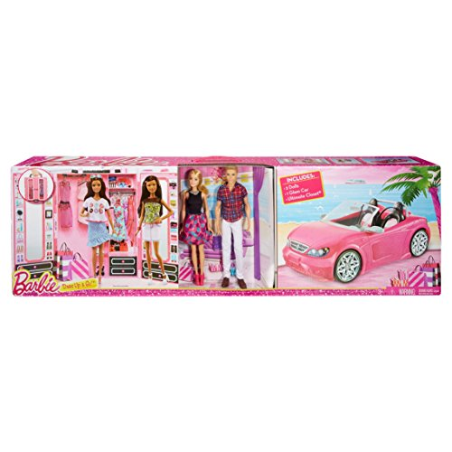 Tree Decorated Ultimate (Barbie Dress Up and Go Includes Ultimate Closet, Glam Convertible and Barbie & Ken Dolls Big Box Set)