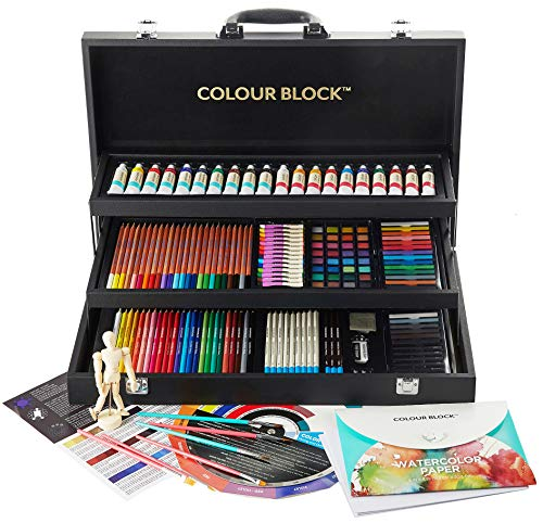 COLOUR BLOCK Premium 181 Piece All Media Art Set in Durable PU hinged case, with Soft & Oil Pastels, Acrylic & Watercolor Paints, Watercolor, Sketching, Charcoal & Colored Pencils and Art Tools