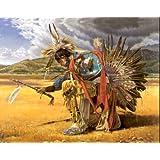 Native American Indian Rain Dancer On Prairie Wall Picture Art Print