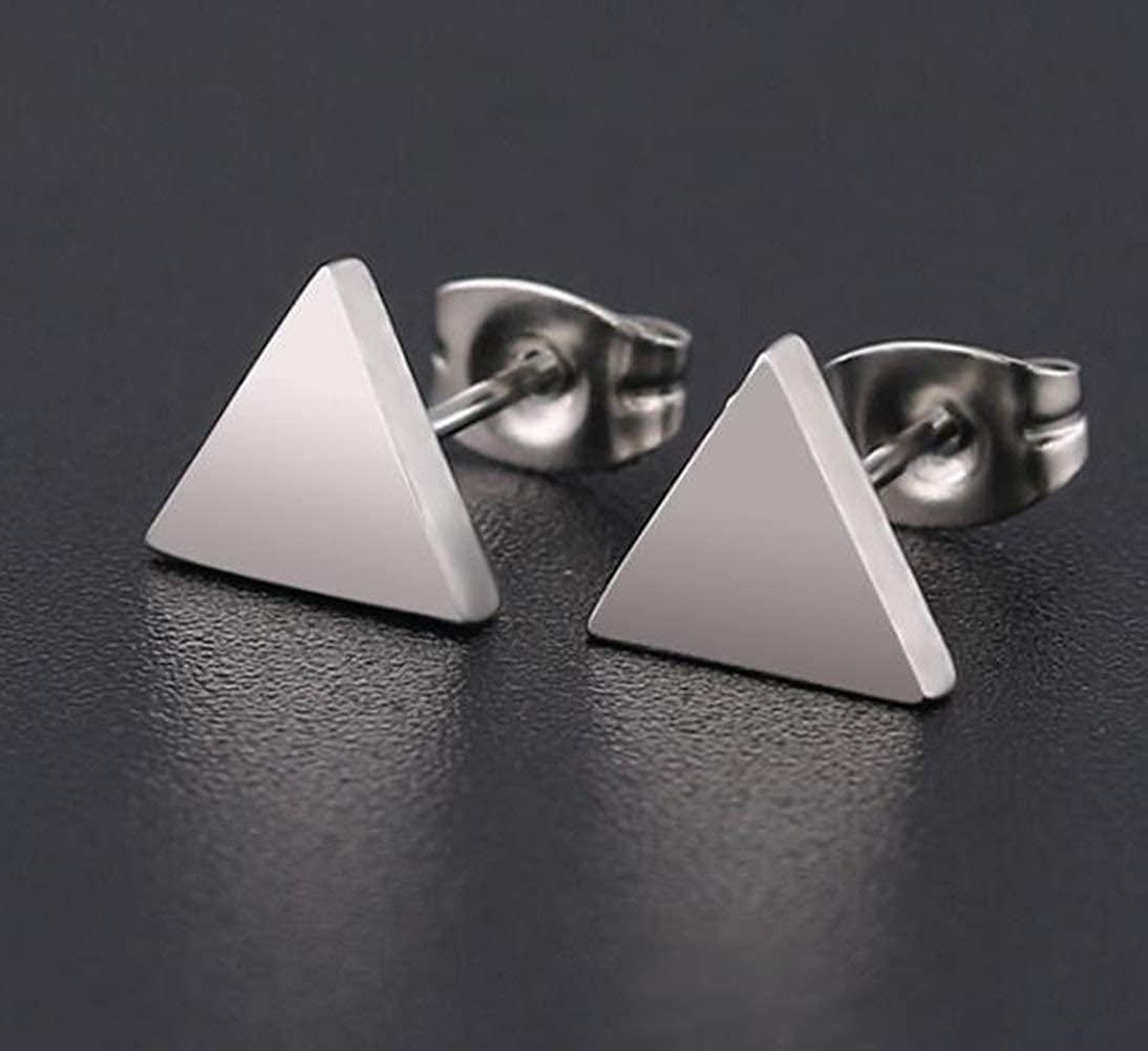 3 Pairs Boys Girls Pierced Stud Earrings Set of 3 Pyramid Triangle Stainless Steel Assorted Color Ear Plugs Studs Earrings