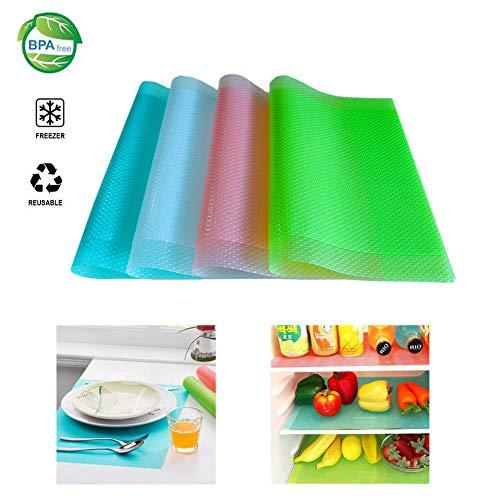 (Fridge Liners 8PCS Antibacterial Mildew Moisture Preserving Pad Refrigerator Mats Fridge Base Cushion Placemats Coasters Kitchen Pads Salad Veg Fresh Liner Shelves Non Slip(4 mixed color,29x45cm))