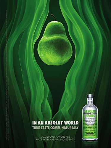 MAGAZINE ADVERTISEMENT For 2008 Absolut Vodka Pears In An Absolut World