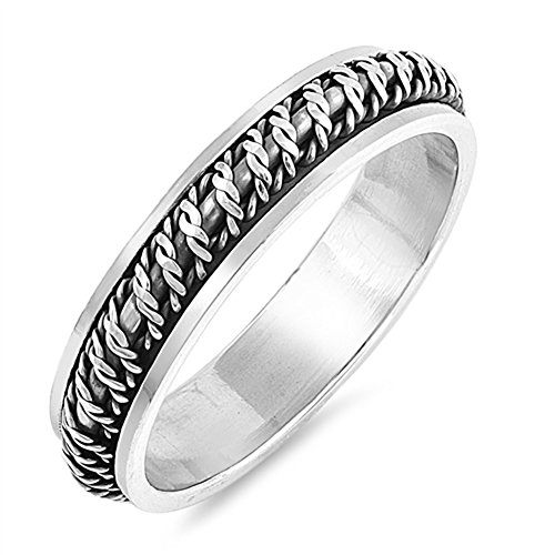 Antiqued Barb Wire Spinner Knot Wedding Ring 925 Sterling Silver Band Size 8 (Antiqued Spin Ring Spinner)