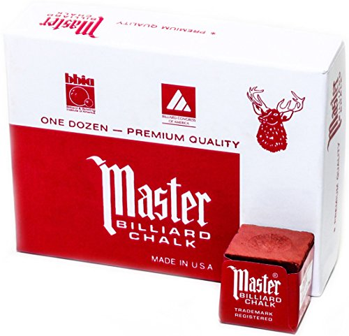 Master Billiard/Pool Cue Chalk Box, 12 Cubes, Red