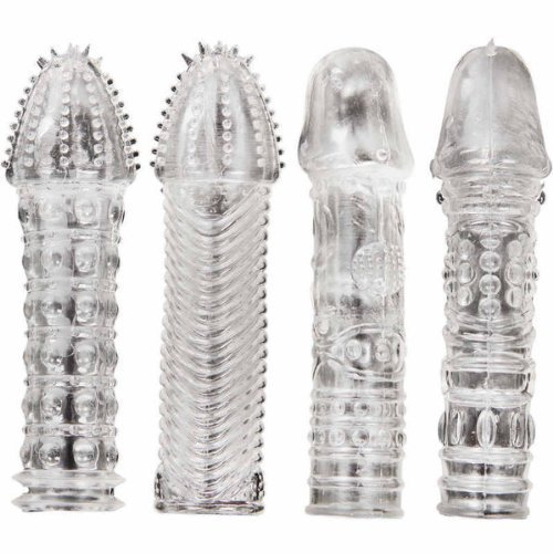 Sherry(US)26br-b1 4 Pcs Different Silicone Condoms Penis Sleeves Cock Extensions Penis Extender,Sex Toys, Sex Products
