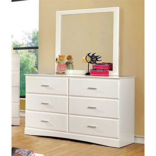 Furniture of America Kolora Youth Dresser and Mirror, White by Furniture of America