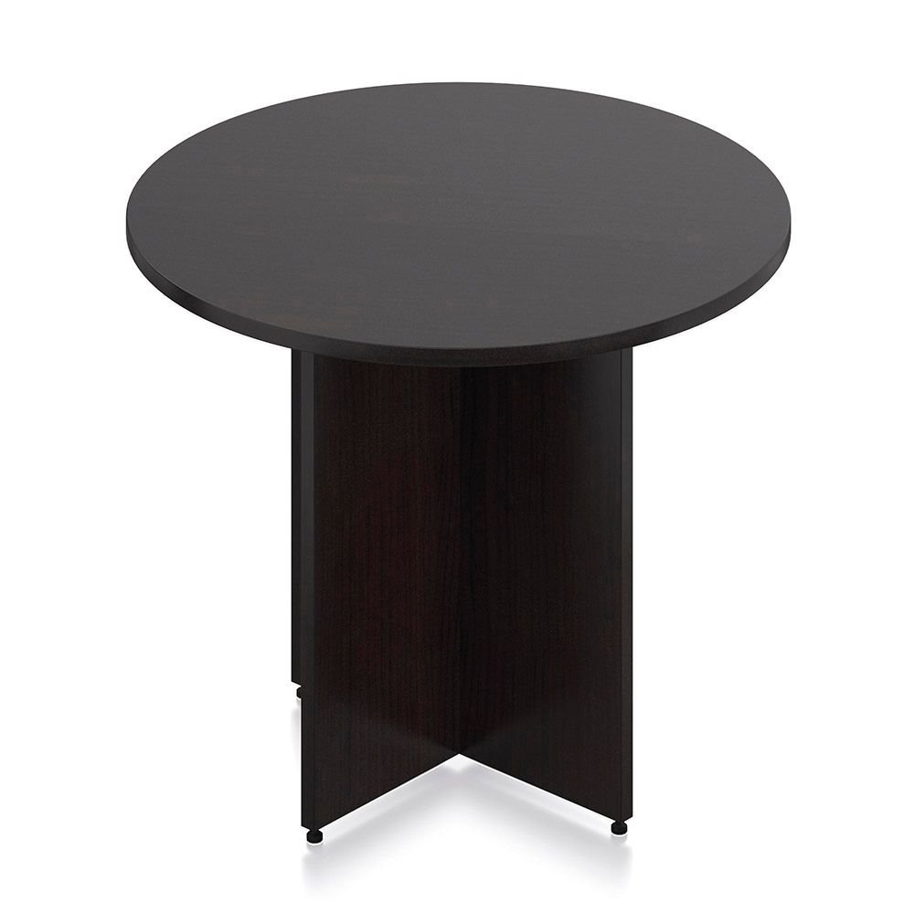 Round Conference Table - 36'' Dimensions: 36''W x 36''D x 29.5''H Weight: 128 lbs Espresso Mocha