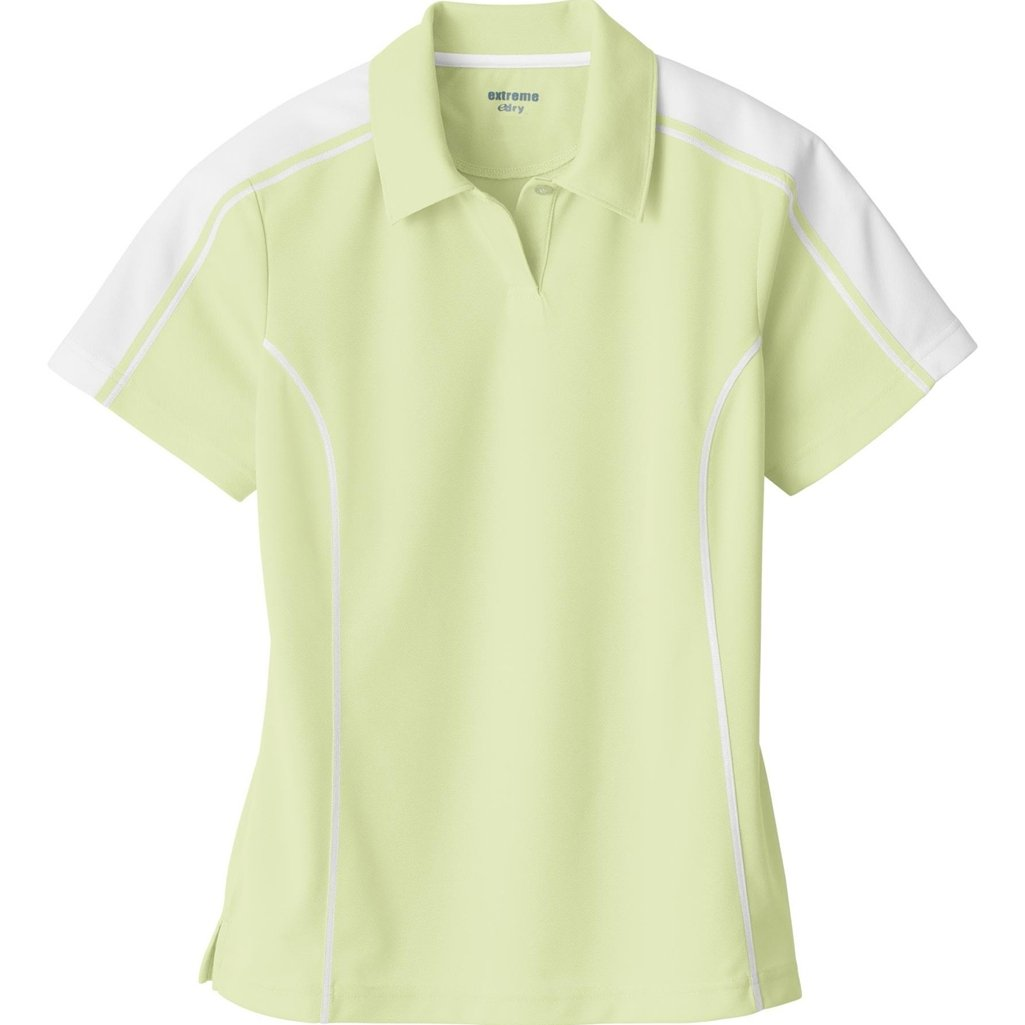 Ash City Ladies Extreme E Performance Pique Polo Shirt (Large, Lime Sherbert/White) by Ash City Apparel