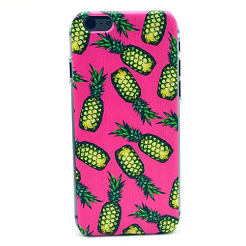 Iphone 6 case, JAHOLAN Gold Pineapple Pink Back Clear Bumper Hard Plastic Case Silicone Skin Cover for Iphone 6 4.7 inch