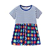 2019 Hot! Toddler Girls Dress,Kids Baby Short Sleeve Striped Floral Printed Princess Dresses Clothes Outfits Blue