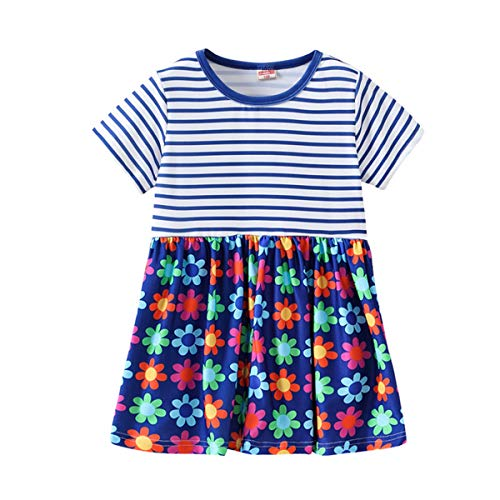2019 Hot! Toddler Girls Dress,Kids Baby Short Sleeve Striped Floral Printed Princess Dresses Clothes Outfits Blue by Leewos-Baby Clothes (Image #5)