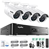 SANNCE 4CH1080P NVR Home Video Surveillance Security Cameras System with 4xHD 2.0MP Weatherproof Night vision Indoor/Outdoor CCTV House Surveillance Camera, Quick Remote Access Setup Free App, No HDD