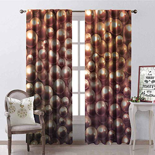 Daisy Pearl Chandelier Shade - GloriaJohnson Pearls Shading Insulated Curtain Various Size Mixed Rare Nacreous Pearls Gemstone Oyster Concept Golden Ombre Pattern Soundproof Shade W52 x L84 Inch Brown