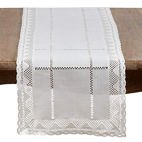 (SARO LIFESTYLE 9029.W1672B Dorothy Collection Embroidered White Lace Table Runner 16