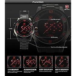 Mens Sport Wrist Watch, Shark Sport Watch - Gulper Shark 2 Gen Black Steel Case Red LED Digital Analog Date Day Display Mens Quartz Wristwatch, Dual Time Zone, Alarm Clock, Water Resistant SH360