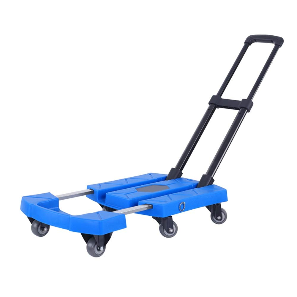 Trolley Portable Folding Luggage Cart, Rust-Proof Iron, 360° Rotation, Chassis Extension, Height Adjustable, Luggage Carts Folding Compact, Load 485 Pounds (Color : Blue)