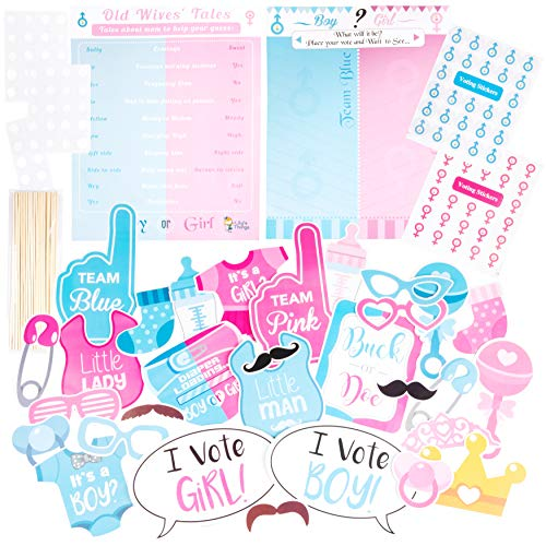 Gender Reveal Games Party Game Posters with Boy or Girl Voting Stickers | Large Gender Reveal Photo Booth Props | Baby Reveal Party Supplies | Gender Reveal Ideas]()