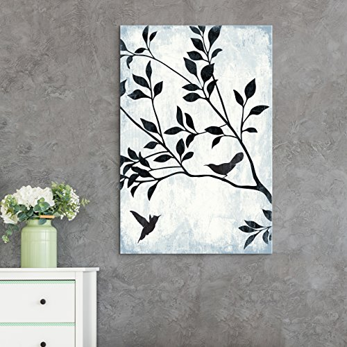 wall26 Canvas Wall Art - Black Color Tree Branch with Birds on Rustic Background - Giclee Print Gallery Wrap Modern Home Decor Ready to Hang - 24x36 inches]()